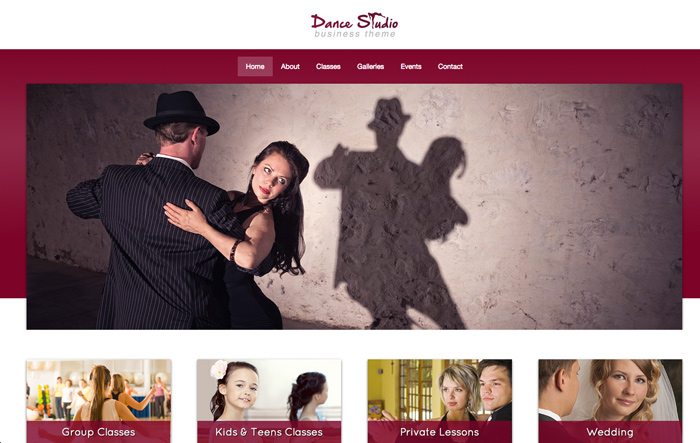 Dansstudio WordPress Thema - Krachtig, professioneel design
