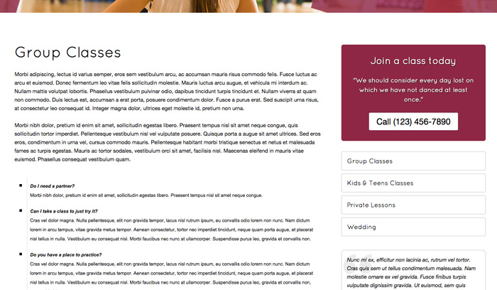 Dance Studio WordPress Theme - Individual service pages