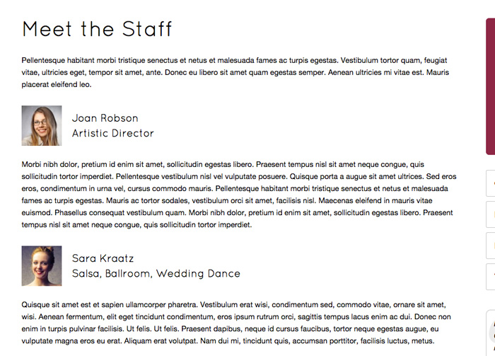 Dansstudio WordPress Thema - Introduceer je team