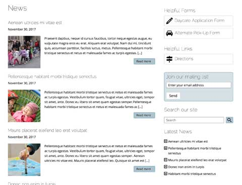 Day Care WordPress Theme - News Section Included