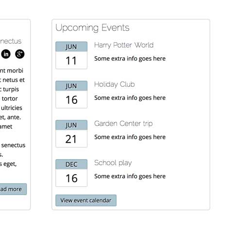 Day Care WordPress Theme - Upcoming events