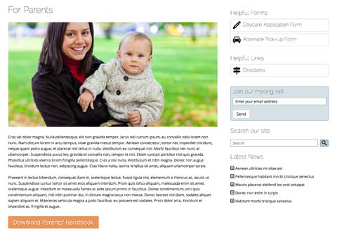 Day Care WordPress Theme - Info for parents