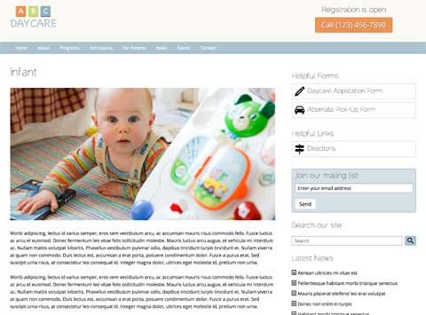 Day Care WordPress Theme - Service detail pages