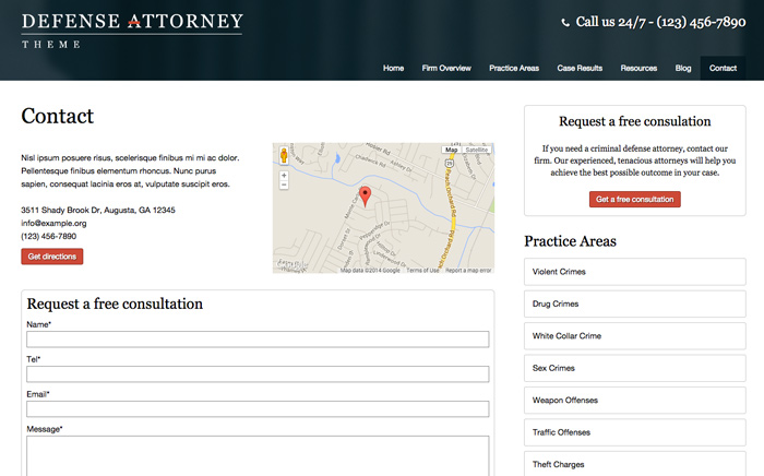 Defense Attorney WordPress Theme - Contact section