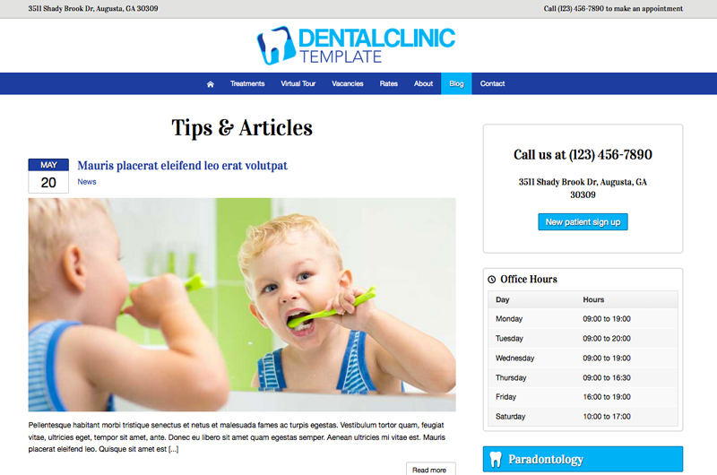 Dental Clinic WordPress Theme - Classic news overview