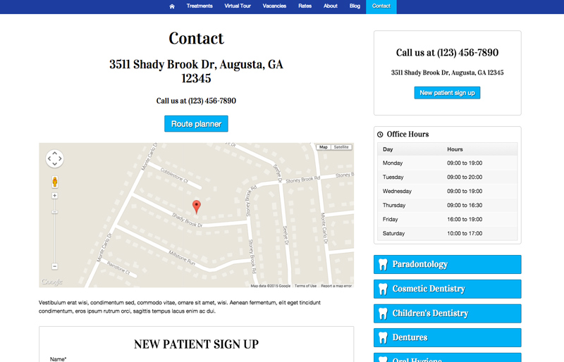 Dental Clinic WordPress Theme - Contact page with map