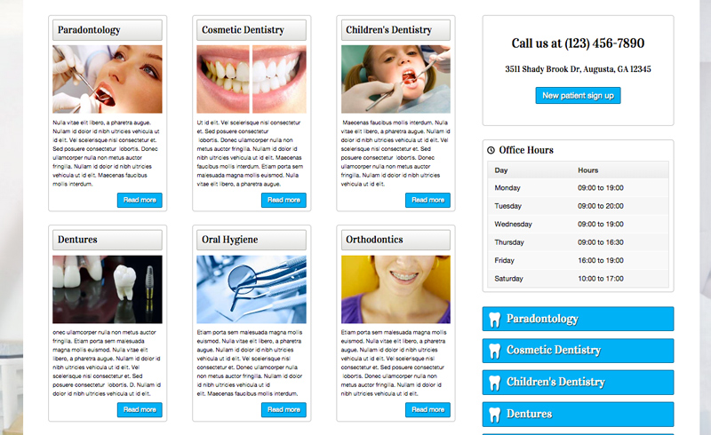 Dental Clinic WordPress Theme - Highlighted services