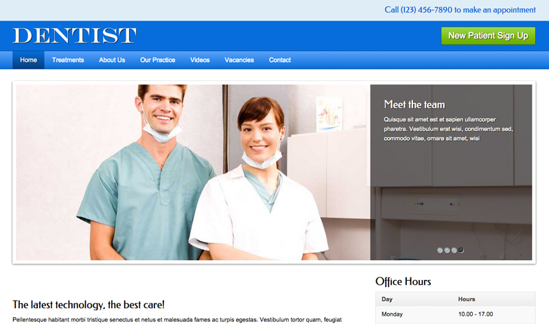 Dentist WordPress Theme - Homepage photo slider