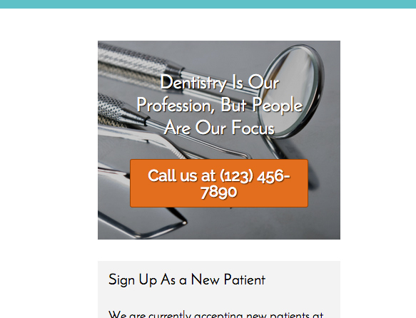 Dentistry WordPress Theme - Clickable call to actions