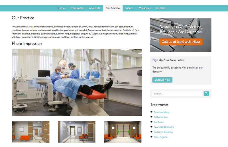 Dentistry WordPress Theme - Gallery Options