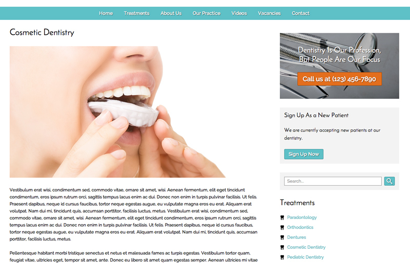 Dentistry WordPress Theme - Informative service pages