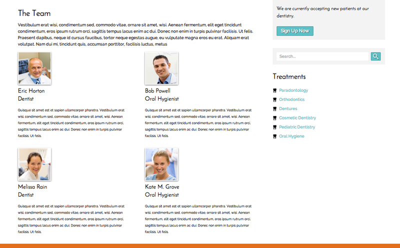 Dentistry WordPress Theme - Introduce your team