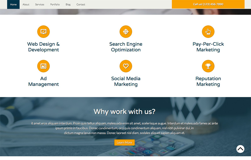 Design Agency WordPress Theme - Highlighted services