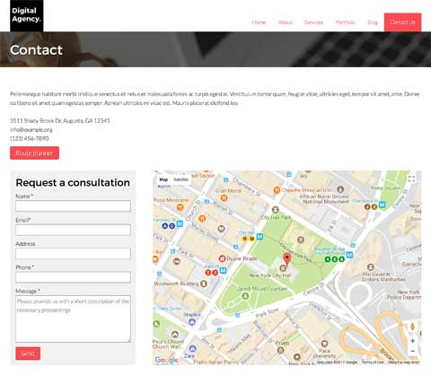 Digital Agency WordPress Theme - Clear contact page