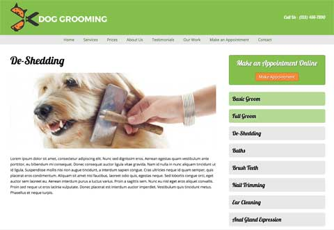 Dog Grooming WordPress Theme - Appealing service pages