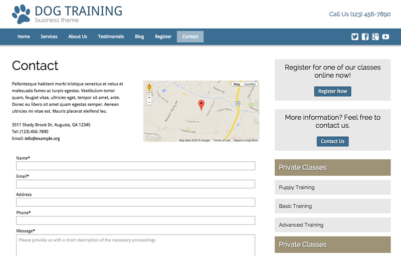 dog training wordpress theme contact info which stands out