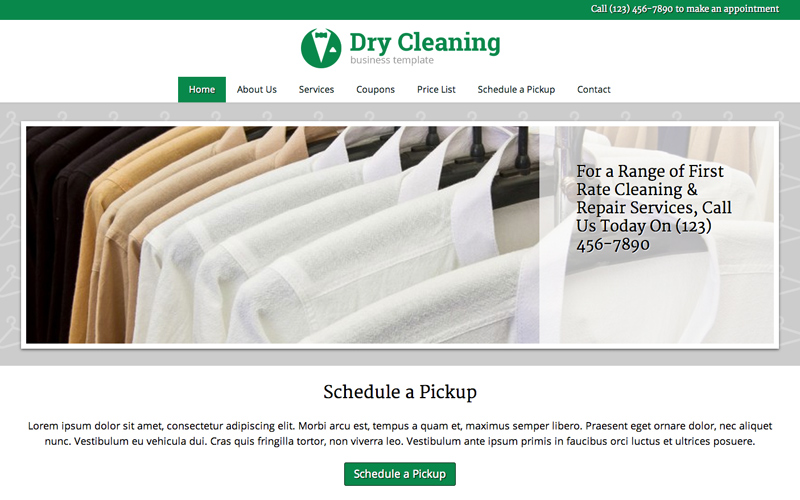 Dry Cleaning WordPress Theme - Classic slider