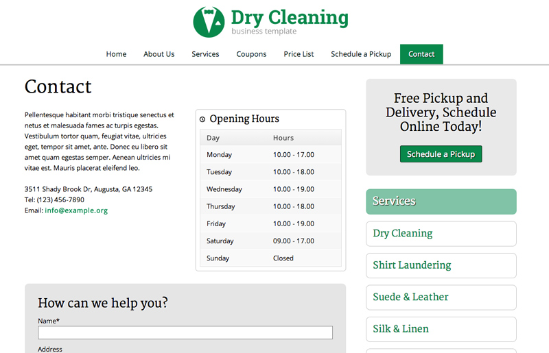 Dry Cleaning WordPress Theme - Contact us page