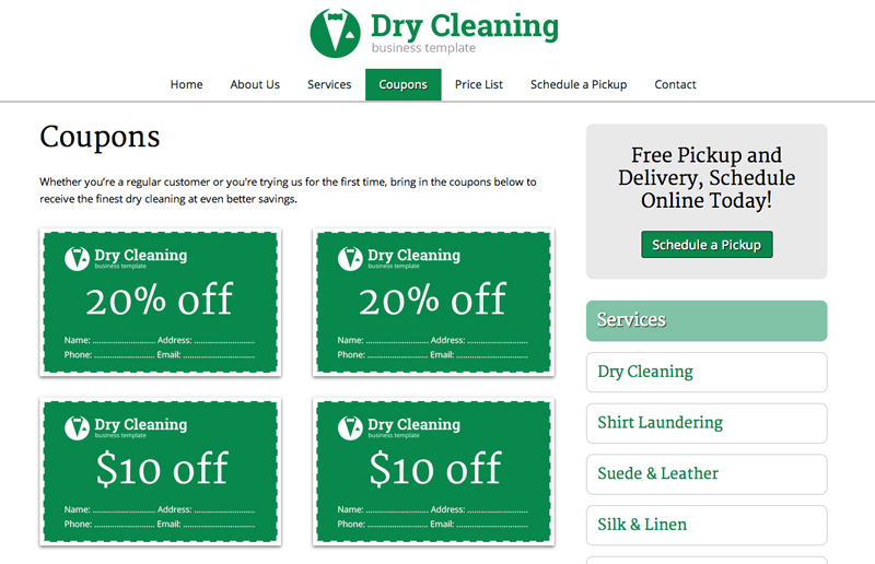 Dry Cleaning WordPress Theme - Promotions page
