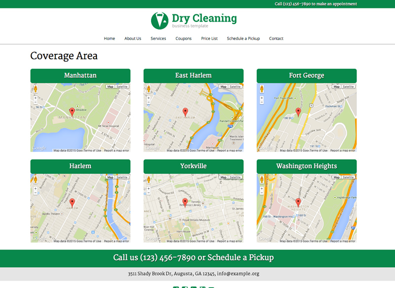 Dry Cleaning WordPress Theme - Service area maps