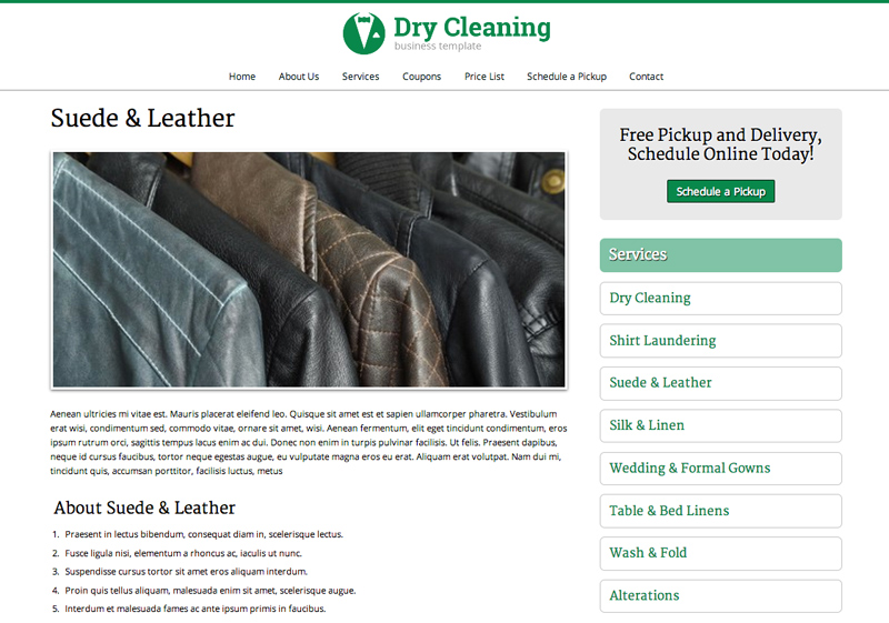 Dry Cleaning WordPress Theme - Rock solid detail pages