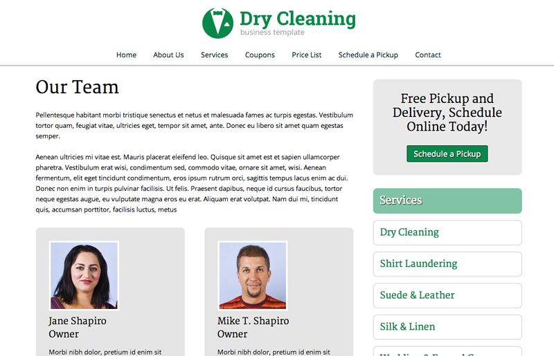 Dry Cleaning WordPress Theme - Team page