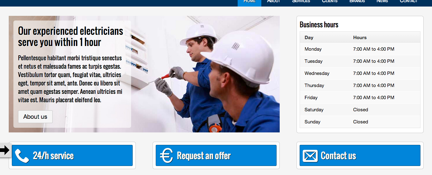 Electrician WordPress Theme - Eye-catching call-to-actions