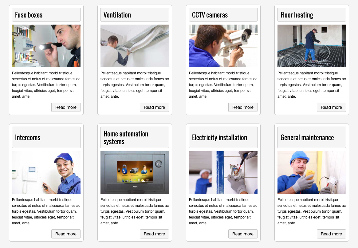 Electrician WordPress Theme - Service overview