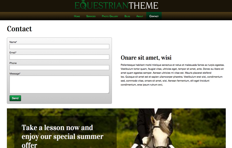 Equestrian WordPress Theme - Contact page with map