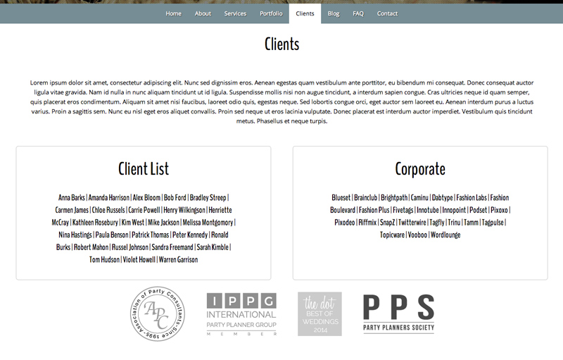 Event Company WordPress Theme - Clients page