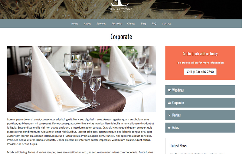 Event Company WordPress Theme - Rock solid detail pages