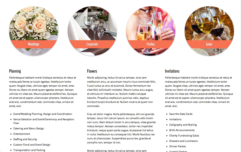 Event Company WordPress Theme - Overview of services