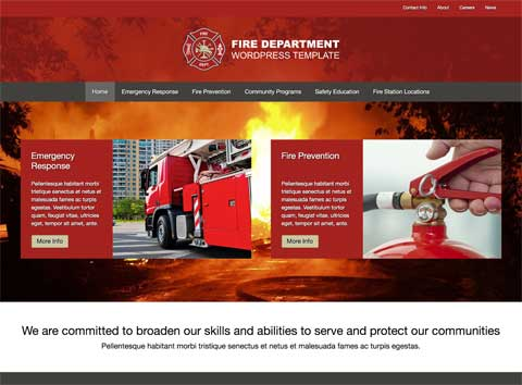 Fire Department WordPress Theme - Simple, striking design