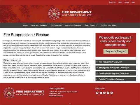 Fire Department WordPress Theme - Appealing service pages