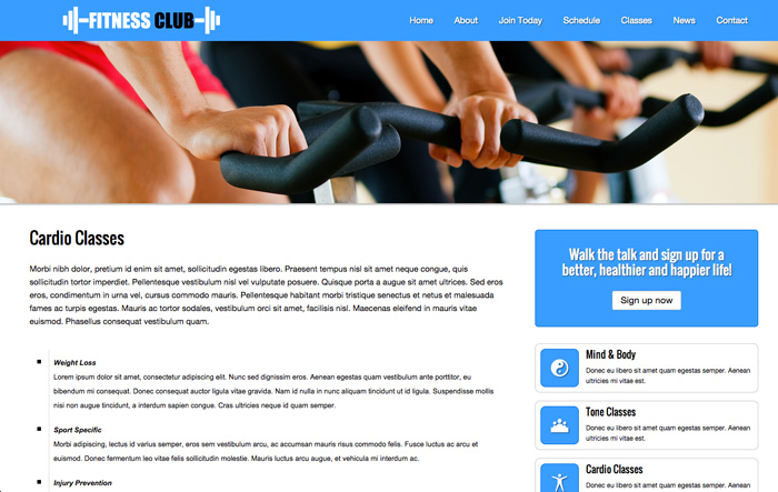 Gym WordPress Theme - Appealing service pages
