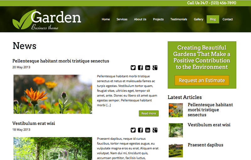 Tuinier WordPress Thema - Krachtig blog thema