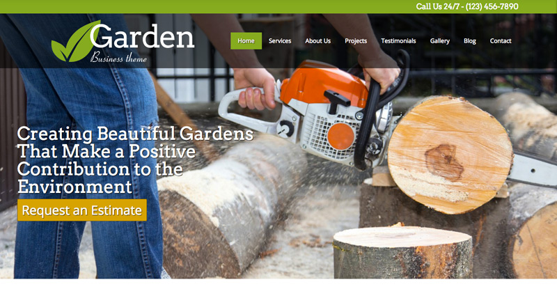 Tuinier WordPress Thema - Homepagina dia voorstelling