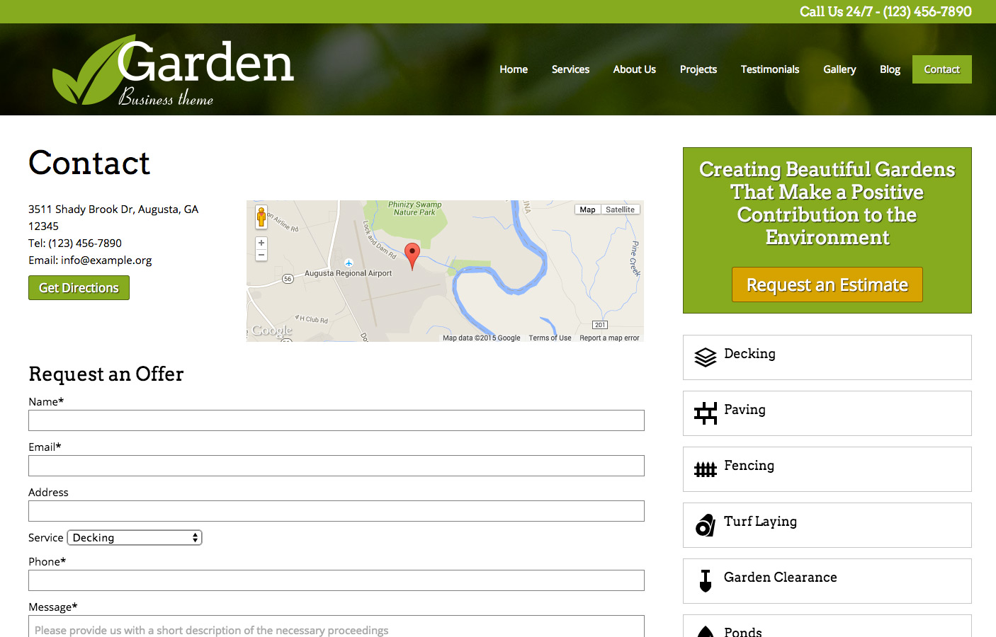 Tuinier WordPress Thema - Sterke contact sectie