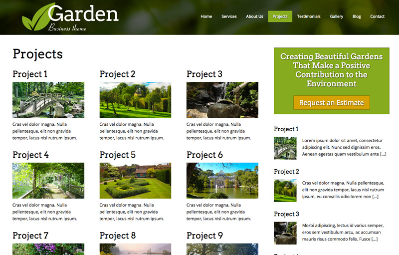 Tuinier WordPress Thema - Projecten portfolio