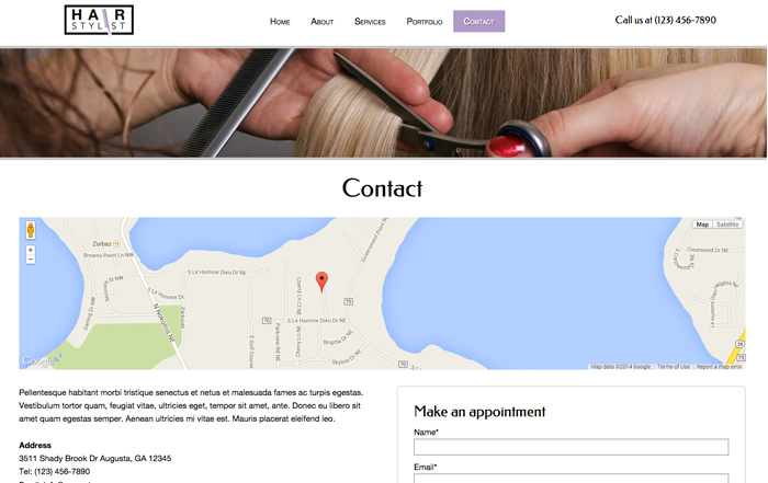 Hair Stylist WordPress Theme - Contact section