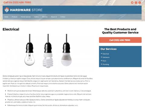 Hardware Store WordPress Theme - Detail pages