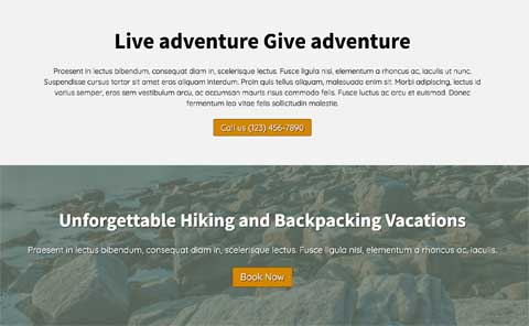 Hiking WordPress Theme - Prominent call-to-actions