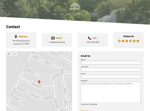 Hiking WordPress Theme - Contact page with map