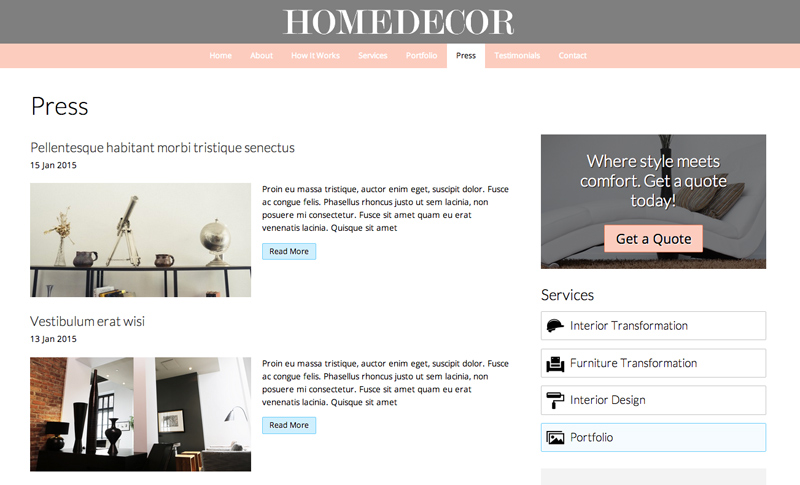Home Decor WordPress Theme   Solid Blog Features