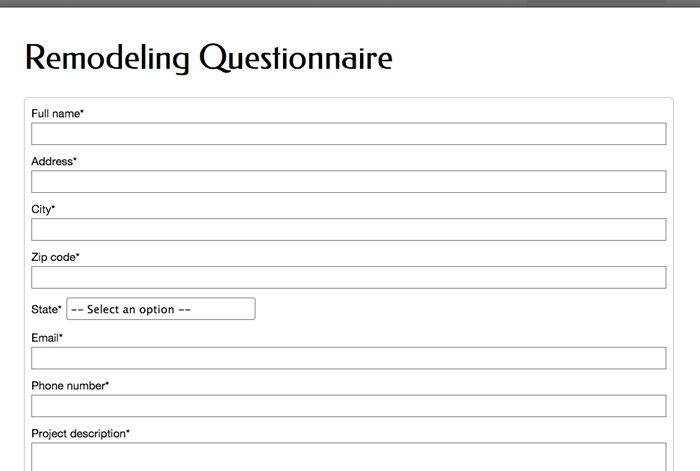 Home Improvement WordPress Theme - Remodeling questionnaire