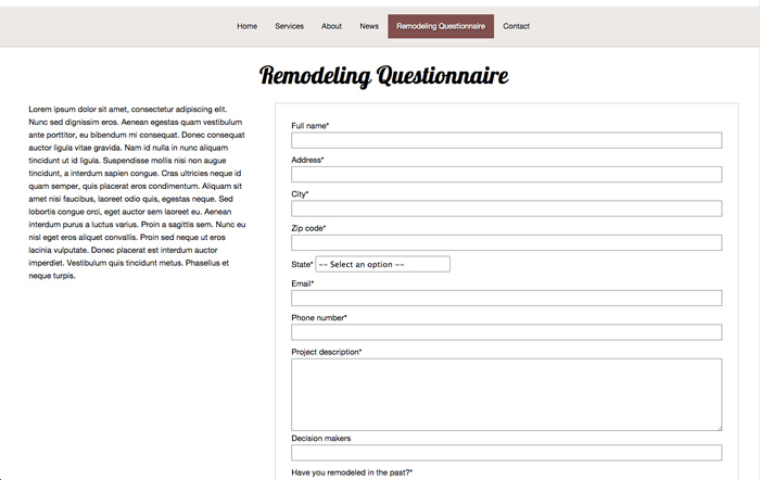 Remodeling WordPress Theme - Remodeling questionnaire