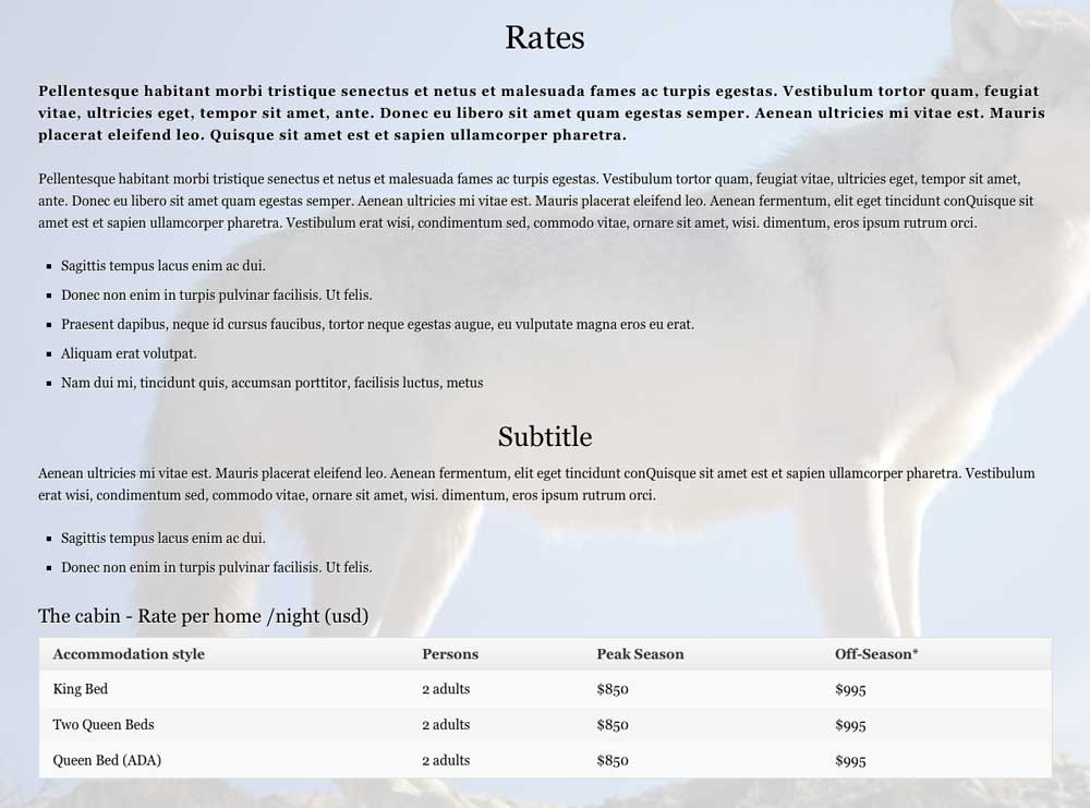 Horse Ranch WordPress Theme - Clear pricing page