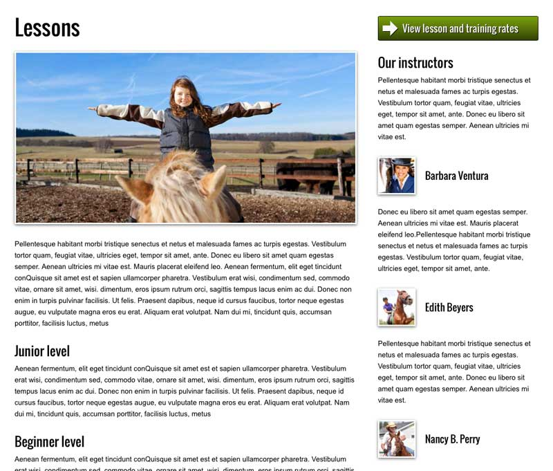 Horse Riding WordPress Theme - Featured services