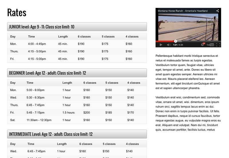 Horse Riding WordPress Theme - Built-in rate charts