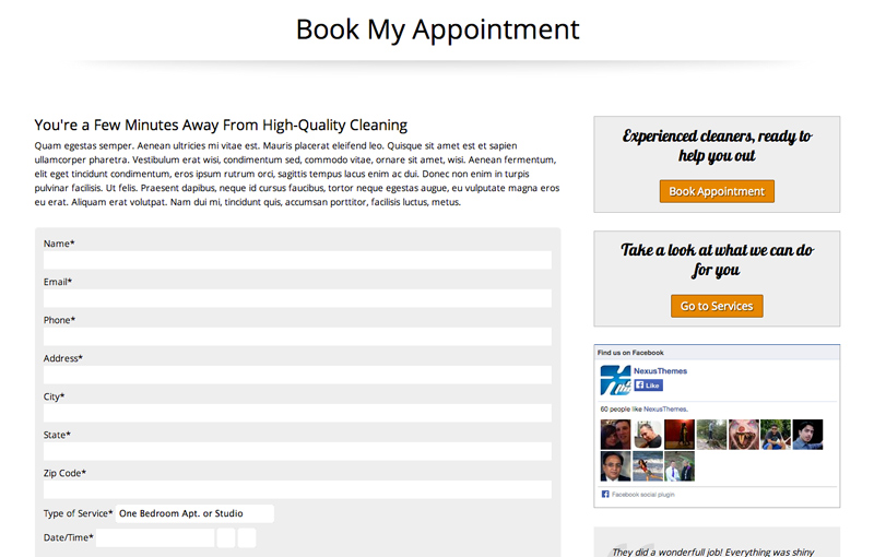 House Cleaning WordPress Theme - Booking services